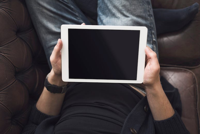 Man, Tablet, iPad, Couch, Relaxing, Jeans