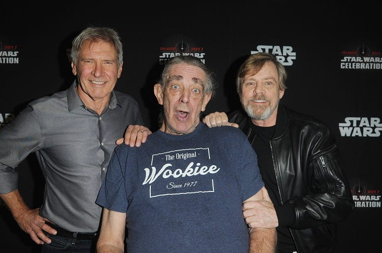 ORLANDO, FL - APRIL 13: Harrison Ford, Peter Mayhew and Mark Hamill attend the 40 Years of Star Wars panel during the 2017 Star Wars Celebrationat Orange County Convention Center on April 13, 2017 in Orlando, Florida