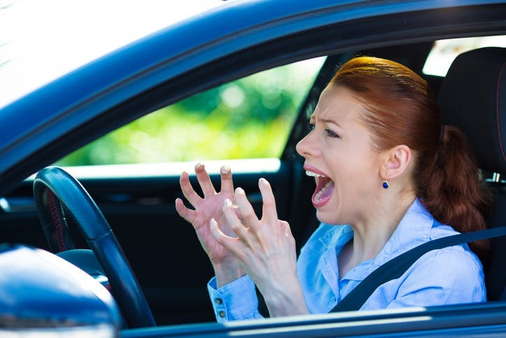 Angry Woman in a Car