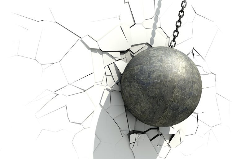 Metallic Wrecking Ball Shattering The White Wall. 3D Illustration.
