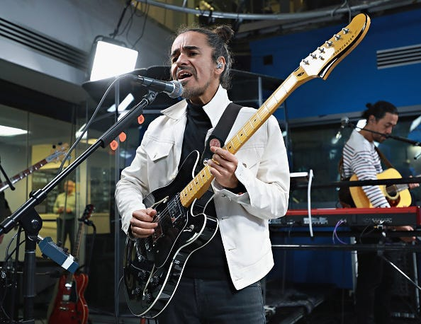 Ruben Albarran of Cafe Tacuba performs at SiriusXM Studios on April 19, 2017 in New York City.