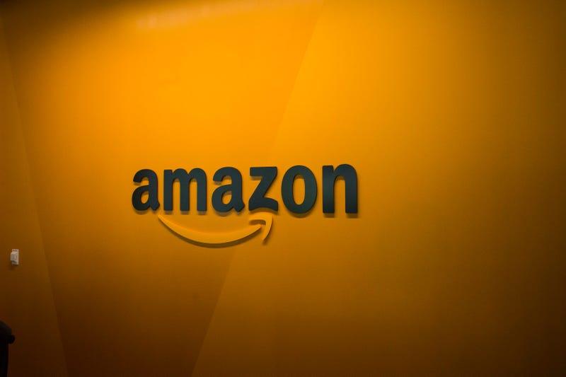 An Amazon logo is seen inside the Amazon corporate headquarters on June 16, 2017 in Seattle, Washington.