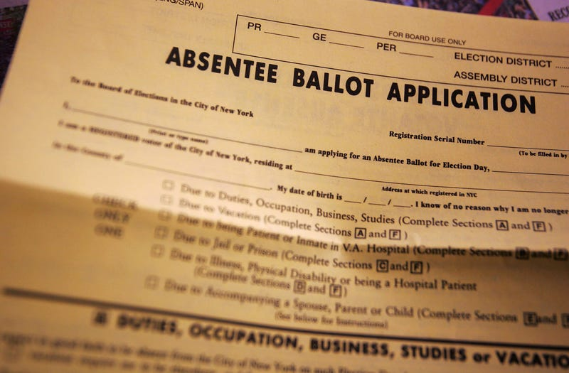 An absentee ballot is shown October 29, 2004 in Brooklyn, New York.