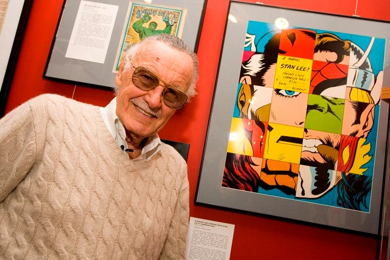 NEW YORK - FEBRUARY 23: (EXCLUSIVE ACCESS) Comic book legend Stan Lee poses at the opening reception for ''Stan Lee: A Retrospective'' presented by the Museum of Comic and Cartoon Art on February 23, 2007 in New York City