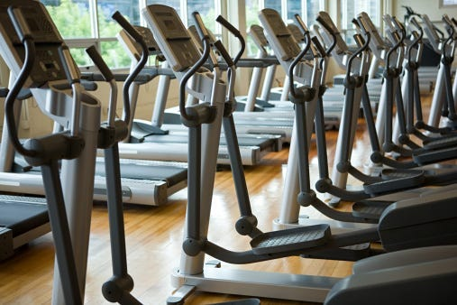 Empty stair climbers at a closed fitness center