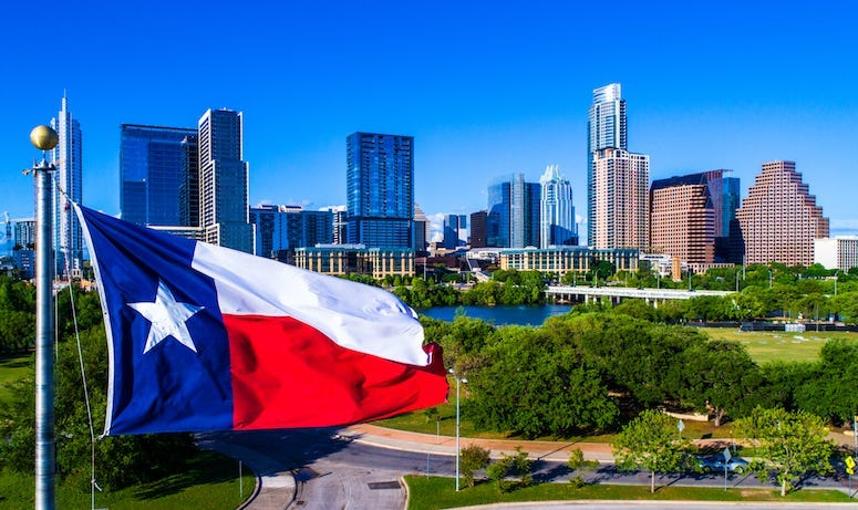 Texas, Flag, Waving, Wind, Austin, Skyline, Blue Sky, Cityscape, Downtown