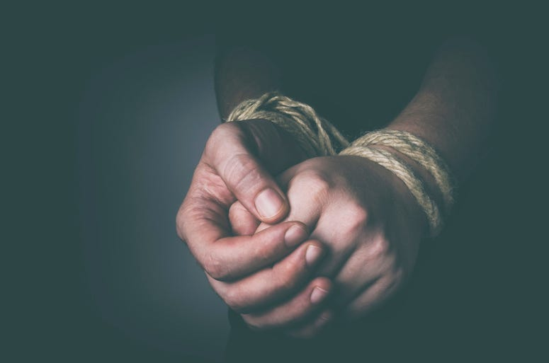 Man, Tied Hands, Rope
