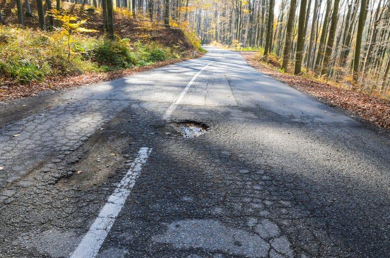 Pothole on open road