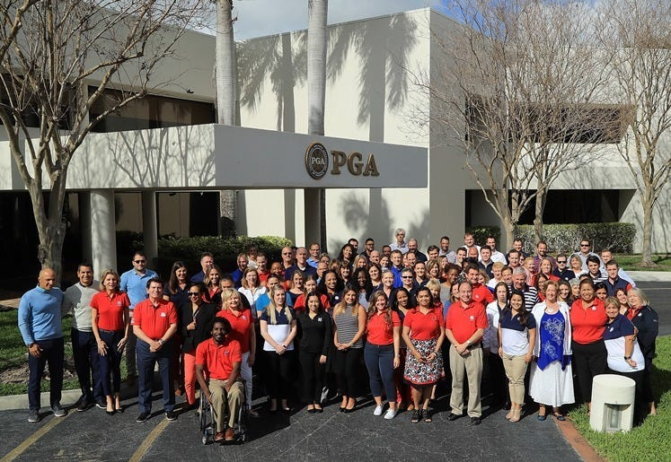 PALM BEACH GARDENS, FL - FEBRUARY 20: The PGA of America Staff poses at PGA Headquarters on February 20, 2018 in Palm Beach Gardens, Florida.