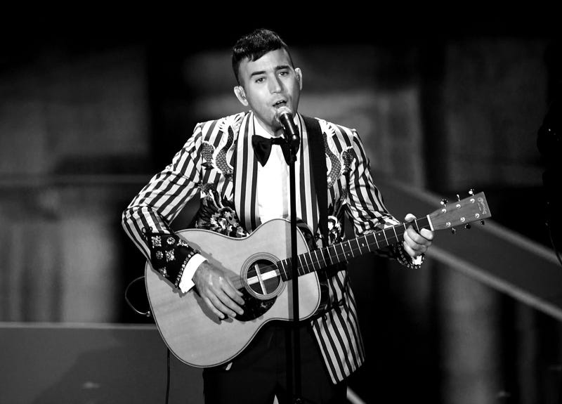 HOLLYWOOD, CA - MARCH 04: (EDITORS NOTE: Image has been converted to black and white.) Recording artist Sufjan Stevens performs onstage during the 90th Annual Academy Awards at the Dolby Theatre at Hollywood & Highland Center on March 4, 2018 in Hollywood