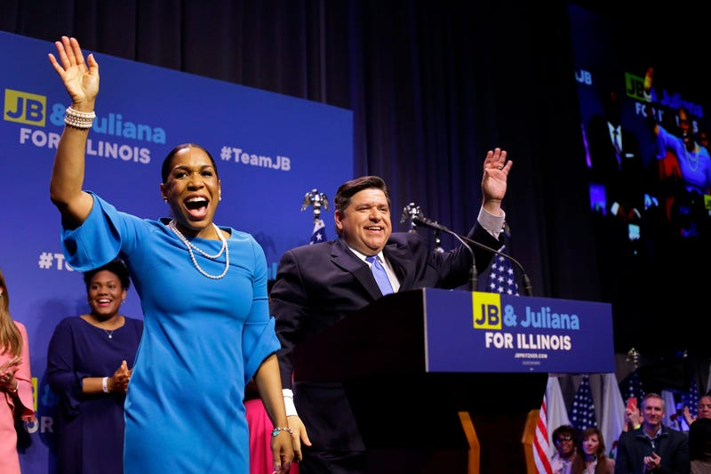 Illinois Democratic candidate for governor J.B. Pritzker and his Lieutenant Governor pick Juliana Stratton arrive during his primary election night victory event on March 20, 2018 in Chicago, Illinois