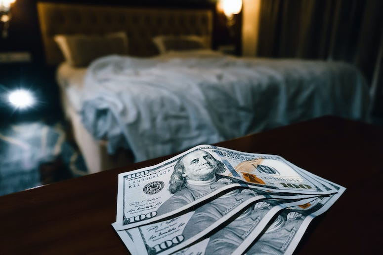 Brothel, Bed, Money, Cash, Table