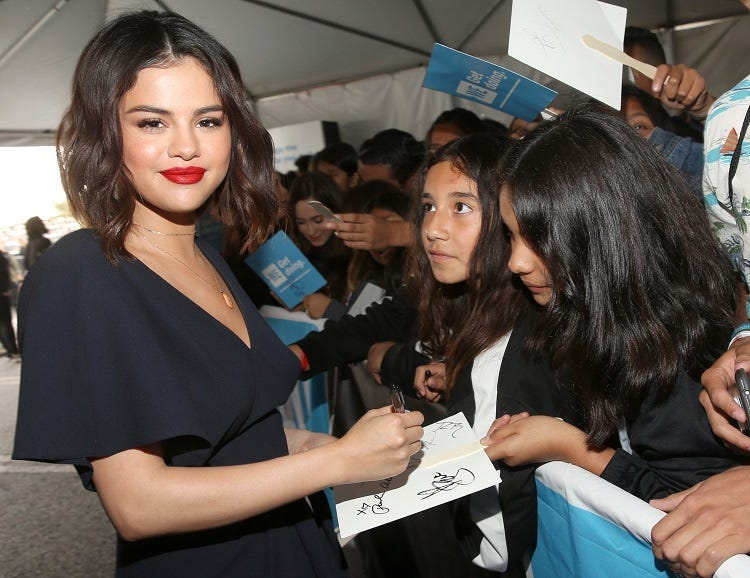 WE Day California To Celebrate Young People Changing The World INGLEWOOD, CA - APRIL 19: Selena Gomez attends WE Day California at The Forum on April 19, 2018 in Inglewood, California