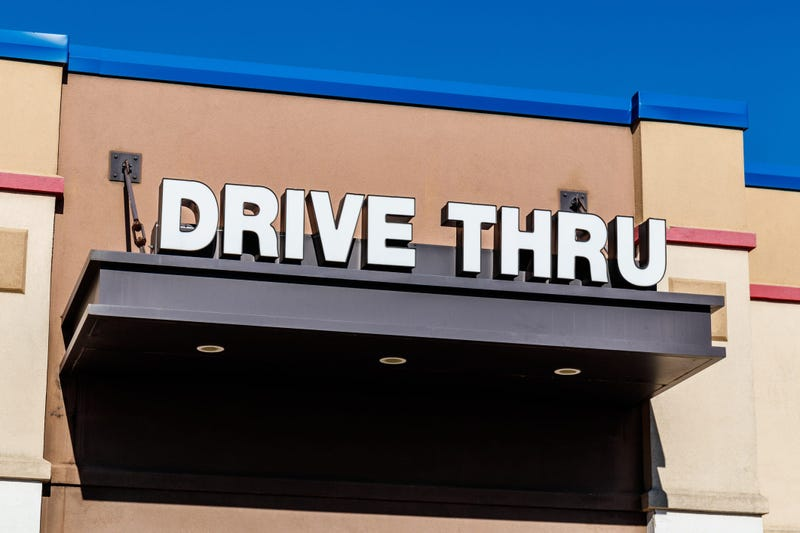 Drive-thru window of a fast food restaurant