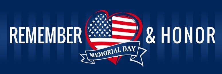 Memorial day, remember & honor with USA flag in heart banner blue
