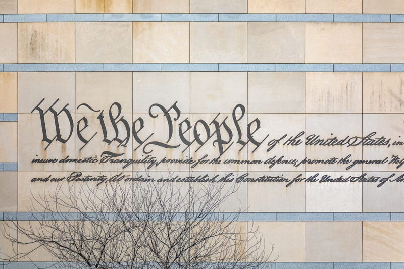"""""""We the People"""" is engraved in the facade of the National Constitution Center in Philadelphia."""