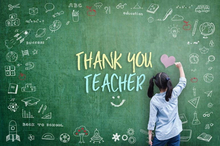 Thank You Teacher greeting for World teacher's day concept with school student back view drawing doodle of of learning education graphic freehand illustration icon on green chalkboard