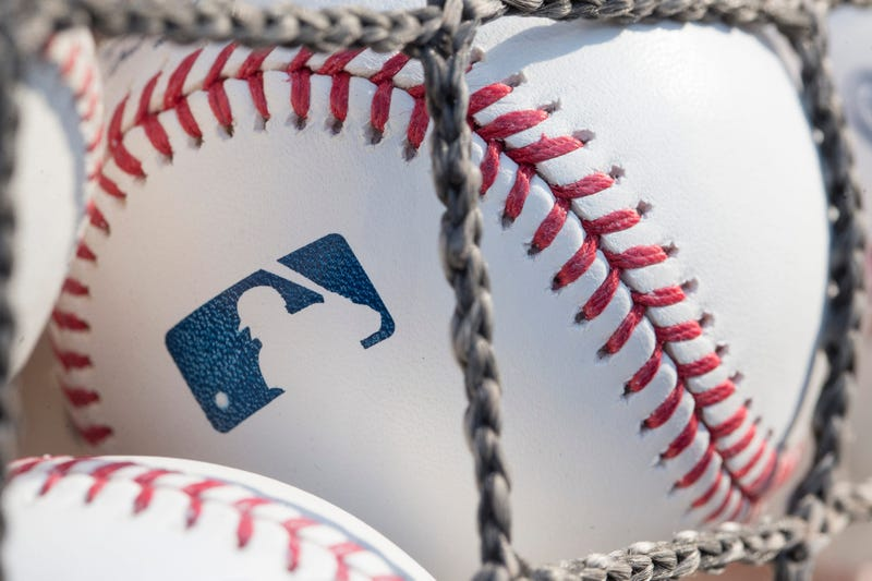 A baseball with MLB logo is seen at Citizens Bank Park before a game between the Washington Nationals and Philadelphia Phillies on June 28, 2018 in Philadelphia, Pennsylvania.
