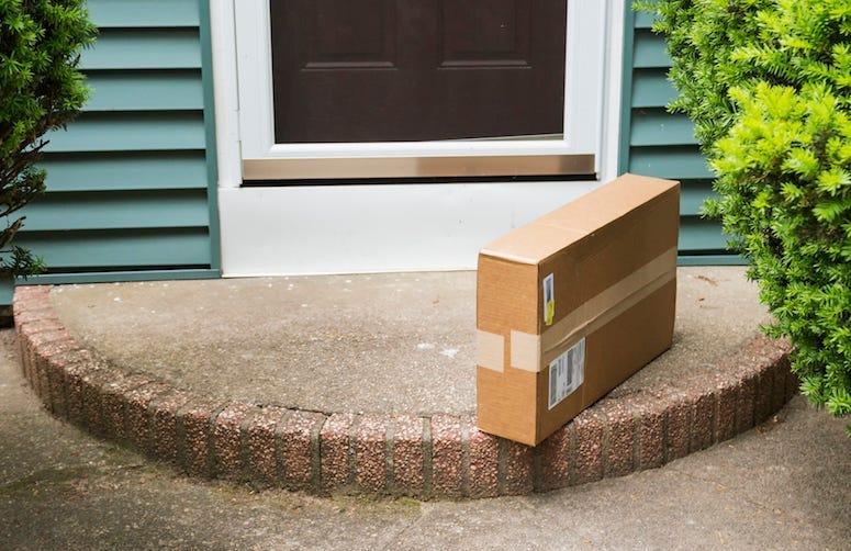 Package, Porch, Doorstep, Cardboard Box, Delivery, Front Door