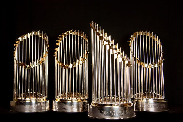 The Commissioner's Trophy is awarded to the team that wins the World Series.