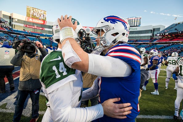 Sam Darnold (left) and Josh Allen (right) are entering their second seasons in the NFL.
