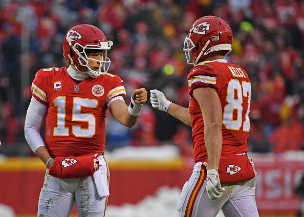 Patrick Mahomes (left) and Travis Kelce (right) are two major reasons why the Chiefs are Super Bowl contenders in 2019.