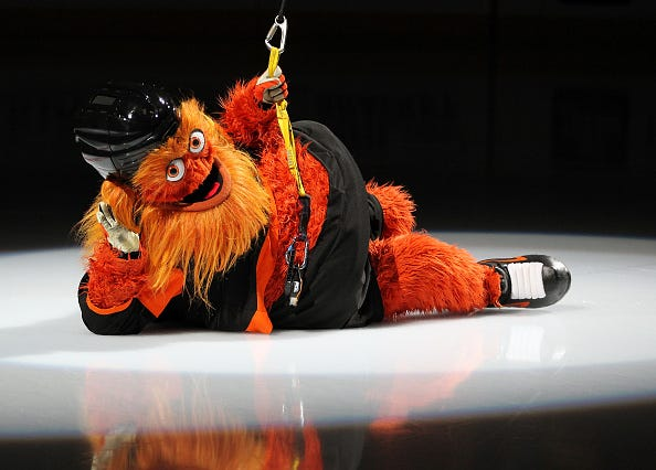 "Philadelphia Flyers mascot ""Gritty"" is celebrating his birthday."