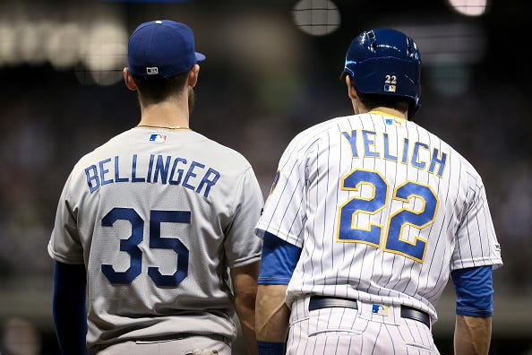 Cody Bellinger (left) and Christian Yelich (right) are both contenders for the National League MVP Award.