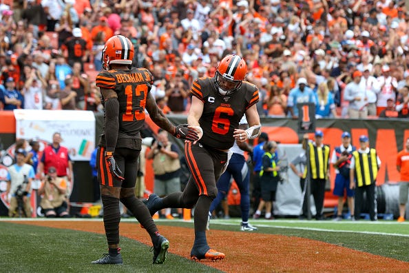 Odell Beckham Jr. (left), Baker Mayfield (right) and the Browns will look for their second consecutive victory.