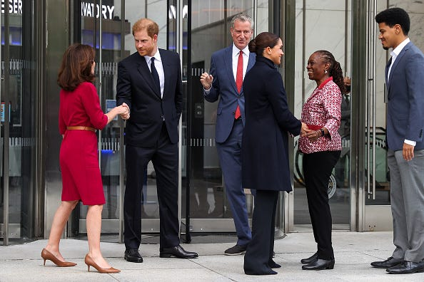 The couple were joined by Gov. Kathy Hochul and Mayor Bill de Blasio, as well as de Blasio's wife, Chirlane McCray, and their son, Dante de Blasio.