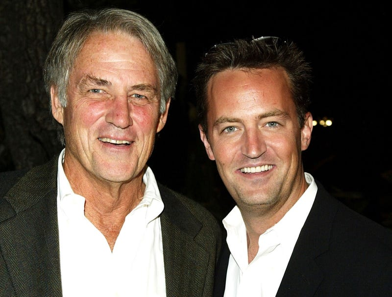 Actor Matthew Perry and father John Bennett Perry pose together at The Court Theater on October 4, 2003 in Los Angeles, California