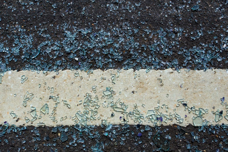 Broken glass on the roadway