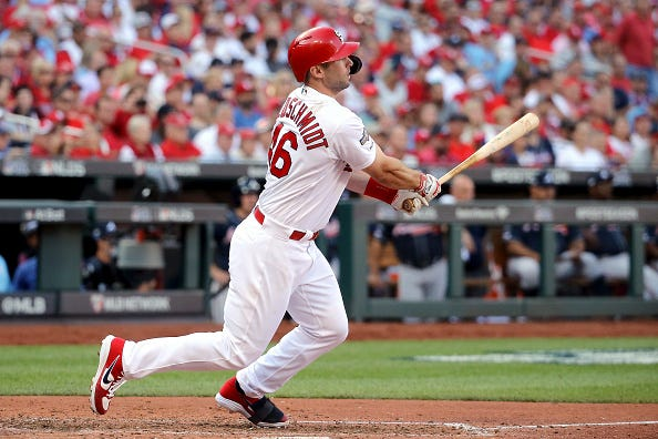 Paul Goldschmidt rips a base hit for the Cardinals.