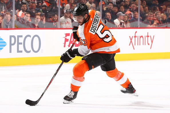 Shane Gostisbehere handles the puck for the Flyers.