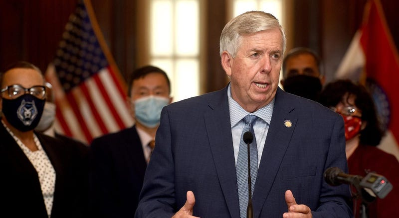 Missouri Gov. Mike Parson tests positive for covid-19, seen here at a press conference in August 2020