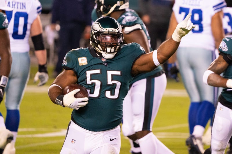 Philadelphia Eagles defensive end Brandon Graham reacts after a fumble recovery against the Dallas Cowboys during the first quarter at Lincoln Financial Field.