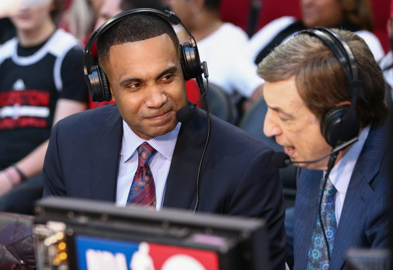 Grant Hill calls a game for NBA TV in 2018.