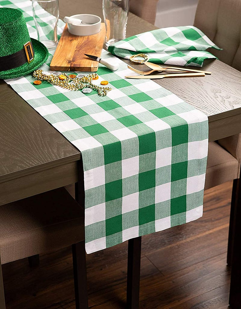 green and white check table runner