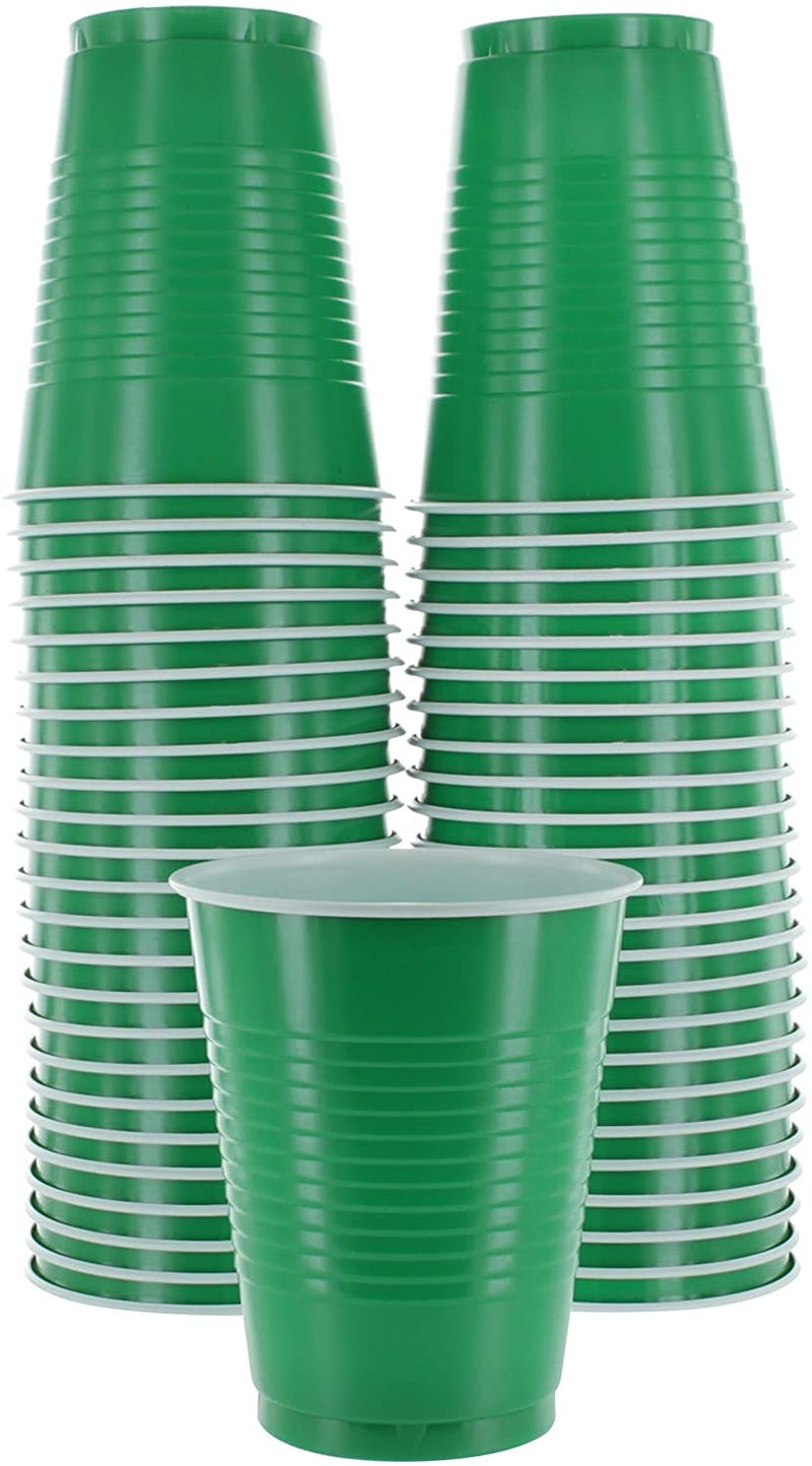Green Colored 16-Ounce Disposable Plastic Party Cups