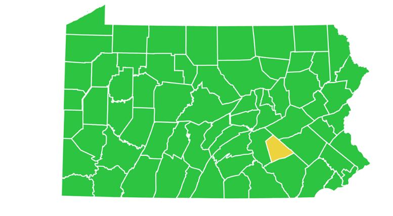 map of Pennsylvania as of June 26, 2020