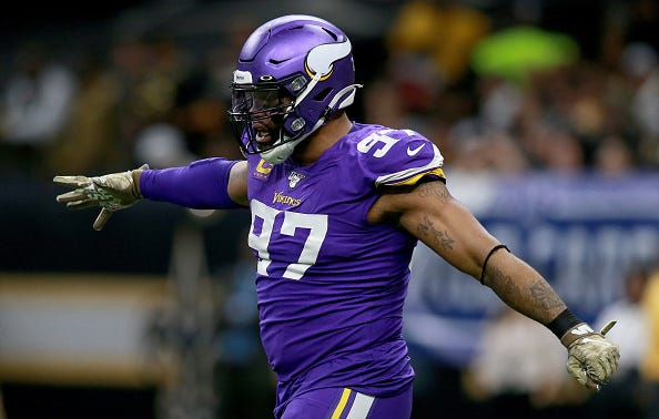 Everson Griffen celebrates a play with the Vikings.