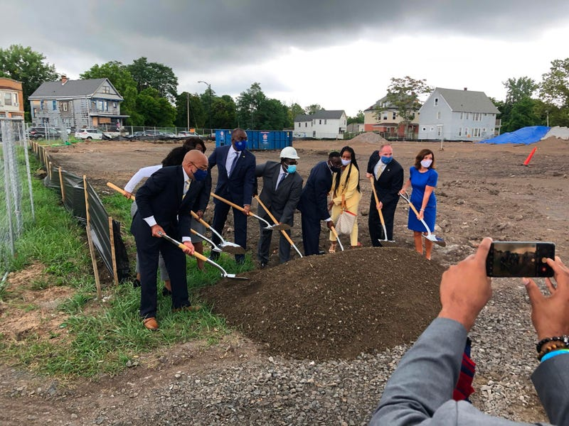 Local and state officials break ground at Mount Aaron Village Complex on Genesee and Adams Street. August 4, 2020 (WBEN Photo/Mike Baggerman)