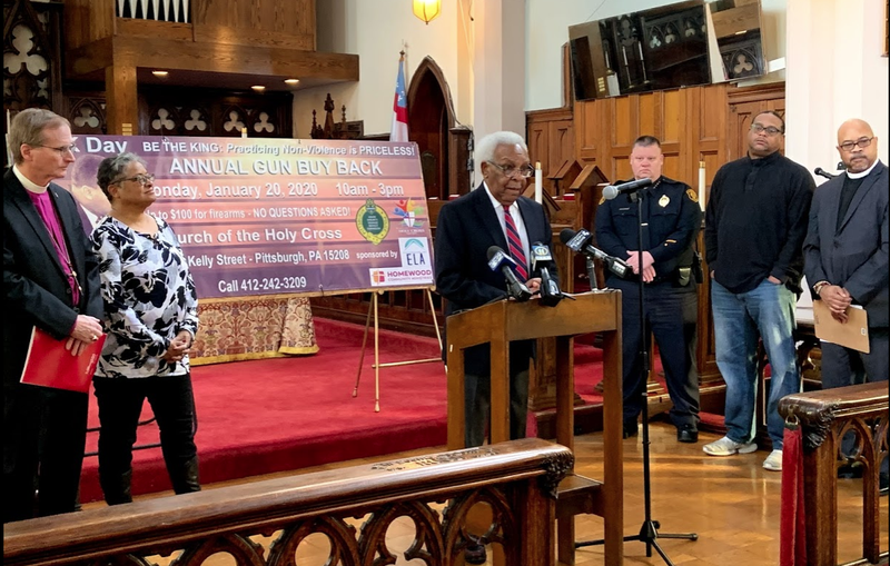 The murders of a man and woman last November just feet from the door to Church of the Holy Cross is prompting the Homewood congregation to find a way to take guns off the streets.