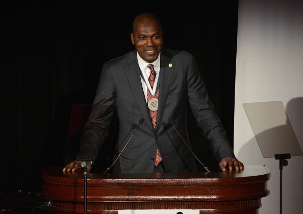 Hakeem Olajuwon speaks at a charity dinner in 2014.