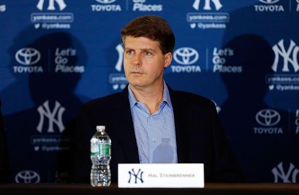 Yankees owner Hal Steinbrenner speaks at a press conference.