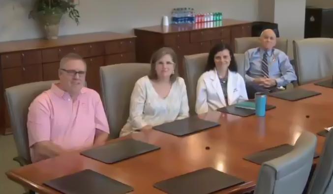 (L-R)Brad Whitaker; Harriett Whitaker, Hardin's donor; Liz Culler, MD, Blood Assurance; J.B. Gaskins, CEO, Blood Assurance