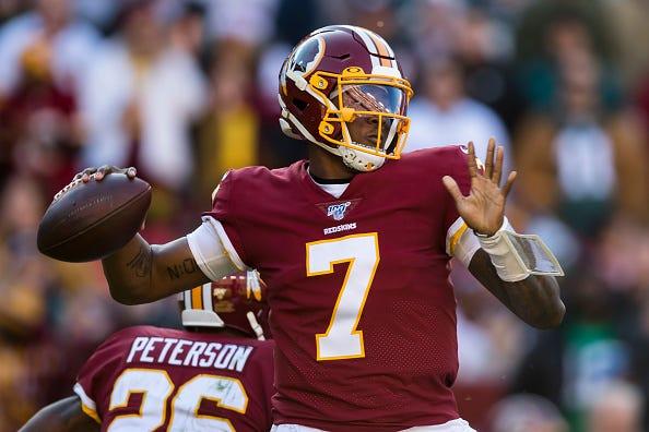 Redskins QB Dwayne Haskins fires off a pass.
