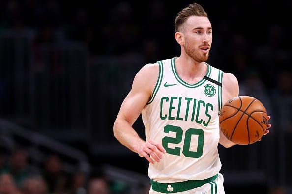 Gordon Hayward brings the ball up for the Celtics.