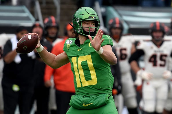 Justin Herbert winds up in a game for Oregon.