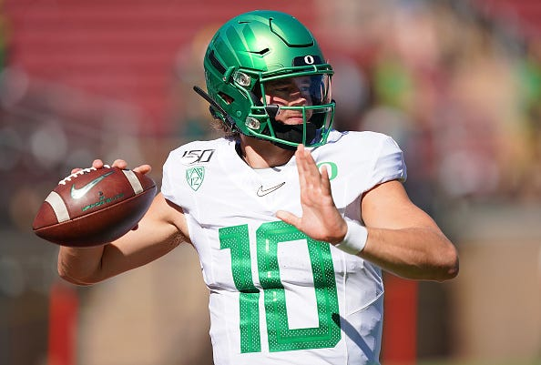 Oregon QB Justin Herbert drops back to pass against Stanford.